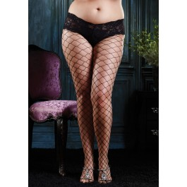 Fence Net Pantyhose With Boy Short Lace Top