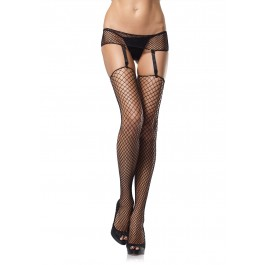 Plus Size 2 Piece Industrial Net Garterbelt And Stocking Set