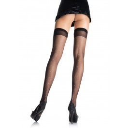 Plus Size Sheer Thigh High Nylon Stocking With Rhinestone Accent Backseam