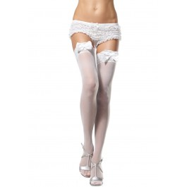 Sheer Thigh High Nylon Stocking With Lace Top And Satin Bow