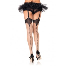 Spandex Sheer Stockings With Stitching Print Detail