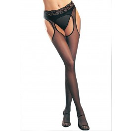 Spandex Sheer Suspender Hose With Lace Waist