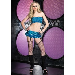 Lame Tube Top And Ruffled Mini Skirt Set
