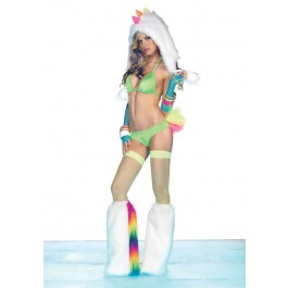 2 Pc Spandex Rainbow Tutu Club Bikini Set