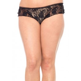 Plus Size Peek-A-Boo Back Lace Tanga Panty