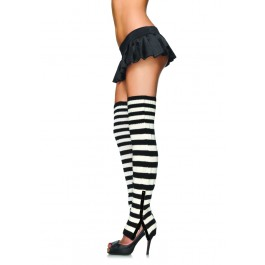 Striped Extra Long Leg Warmers With Side Snap Detail