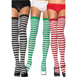Striped Nylon Thigh High Stockings