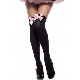 Bonnie Opaque Thigh Highs With Accent Bow
