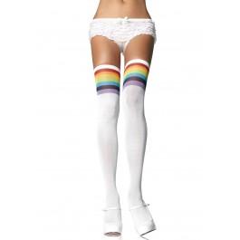 Opaque Rainbow Thigh High Nylon Stocking