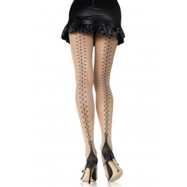 Corset Lace Up Back Pantyhose With Cuban Heel