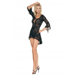 2 Piece Spanish Lace Mini Dress With Lace Up Front Flair Sleeves And G-String