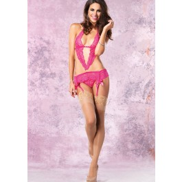 2Pc.Lace Garter Dress And Crotchless Lace G-String
