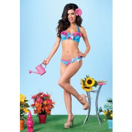 2Pc. Mesh Underwire Halter Bra And Peek-A-Boo Back Panty