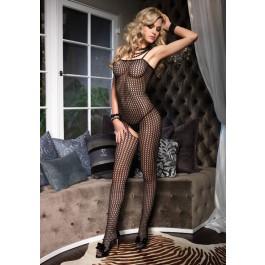 Seamless Crochet Net Sexy Crotchless Bodystocking