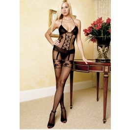 Sheer Bodystocking With Opaque Faux Garterbelt Detail