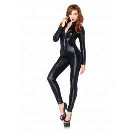 Wet Look Zipper Front Catsuit Costume