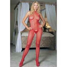 Seamless Fishnet Halter Crotchless Bodystockings