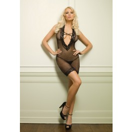 2 Piece Lace Trimmed Deep-V Fishnet Dress And G-String