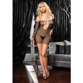 Keyhole Fishnet Mini Dress With Fingerless Gauntlet Sleeve