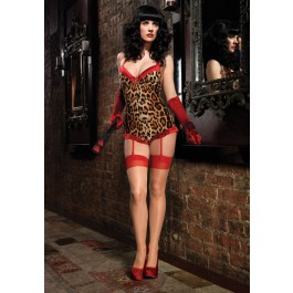 Leopard Satin Trimmed Romper with Garters
