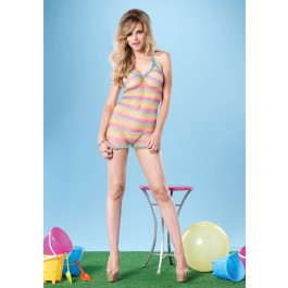 Rainbow Striped Halter Fishnet Mini Dress