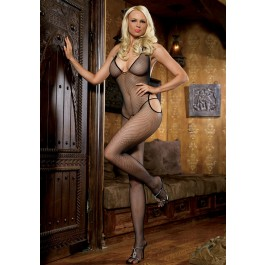 Fishnet Crotchless Bodystocking With Halter And Suspenders