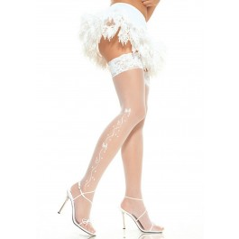 Sheer Lace Top Stockings With Woven Wedding Bells And Ribbon Side Detail