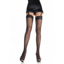 Plus Size Fishnet Thigh High With 3' Stretch Lace Top