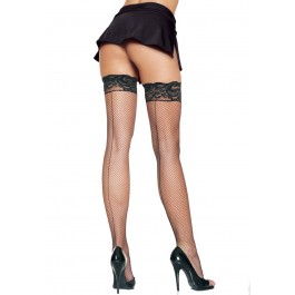 Spandex Fishnet Stockings With Backseam And Silicone Lace Top