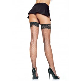 Plus Size Spandex Fishnet Stockings With Backseam And Silicone Lace Top