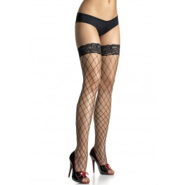 Lycra Fence Net Thigh High Nylon Stocking With Lace Top