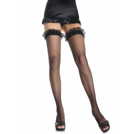 Fishnet Thigh High Nylon Stocking With Lace Ruffle Top