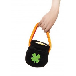 St. Patrick'S Day Plush Pot O' Gold Purse Holiday Costume Accessory With Rainbow Handle