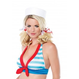 Sailor Girl Hair Bows Holiday Costume Party Accessory With Anchor Charms