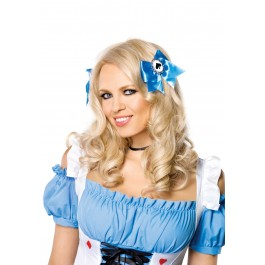 Alice Hair Bows Holiday Costume Party Accessory With Poker Suit Charms
