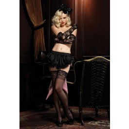 Lace Trimmed Satin Bustle Skirt With Oversized Back Bow