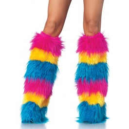 Striped Neon Furry Leg Warmers