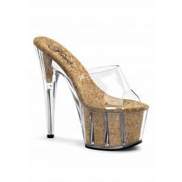 Women's 7 Inch Heel, 2 1/2 Inch Cork Filled Platform Slide