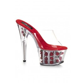 6 1/2 Inch Heel Slip-On Mule Women'S Size Shoe With Silk Roses Inside The Platform