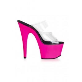 6 1/2 Inch Heel Dual-Strap Slip-On Mule Women'S Size Shoe With Uv Reactive Bottom