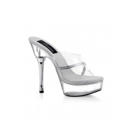 5.5 Inch Clear Stiletto Heel Women'S Size Shoe With Rhinestone Band