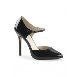 5 Inch Heel, 3/8 Inch Hidden Platform D'Orsay Pump With Ankle Strap
