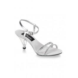 3 Inch Heel Silver Sandal Women'S Size Shoe With Rhinestone Dual Toe Strap