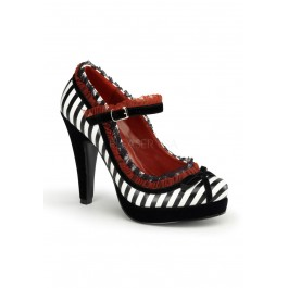 Pinup Couture BETTIE-18, 4 1/2 Inch Heel Mary Jane Pump With Lace Trim and Bow