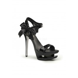 Pleaser BLONDIE-615, 6 Inch Stiletto Heel Dual Platform Ankle Strap Sandal With Side Bow Accent