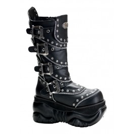 Men'S 4 Inch Buckled Platform Calf Boot With Zipper Teeth And Studded Detail