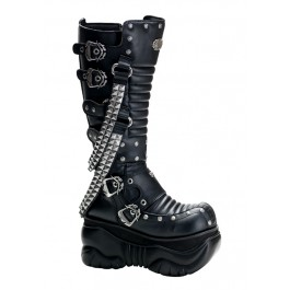 Men'S 4 Inch Platform Buckled Knee Boot With Pyramid Studded Strap Detail