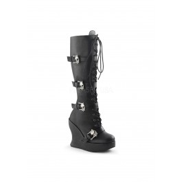 5 Inch Wedge Platform, Lace Up Knee High Boot