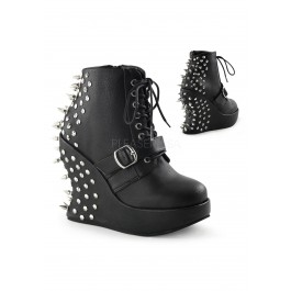 5 Inch Wedge Platform, Lace Up Ankle Boot
