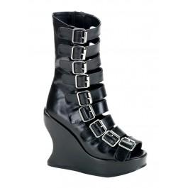 Women's 5 Inch Wedge Heel Peep Toe Multistrap Sandal